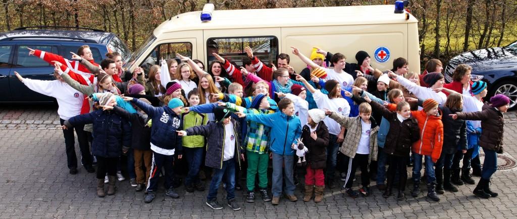 Spaßiges Gruppenfoto Mit allen Teilnehmern und Betreuern!